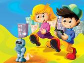 Cartoon kids playing with robot — Stock Photo