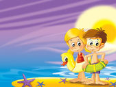 The pair of kids standing by the sea preparing themselves to swim — Stock Photo
