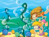 El par de niños buceo buscando en el fondo del mar — Foto de Stock