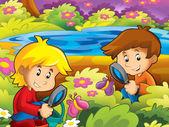 Kinder glücklich im park — Stockfoto