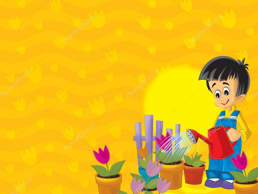 The small boy taking care od his plants - flowers - sun in the background - illustration for children  — Stock Photo #12249409