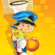 The boy playing basketball — Stock Photo