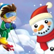 The kid on the skis having fun in the mountains — Stock Photo