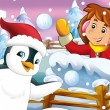 Stock Photo: Cartoon snow fight with christmas creatures