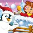 The cartoon snow fight with christmas creatures — Stock Photo #12254304