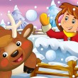 The cartoon snow fight with christmas creatures — Stock Photo #12254309