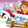 The cartoon snow fight with christmas creatures — Stock Photo #12254325