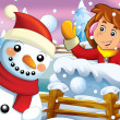 The cartoon snow fight with christmas creatures — Foto Stock