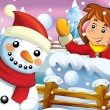 The cartoon snow fight with christmas creatures — Stok fotoğraf