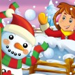 The cartoon snow fight with christmas creatures — ストック写真