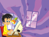 The tech illustration for children with IT specialist - presented as a young boy- — Stock Photo