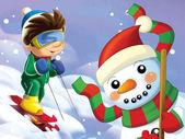 Le petit sur les skis s'amuser dans les montagnes — Photo