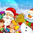 The presentation of christmas - santa claus with kids and presents — Stock Photo