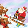 The santa claus sliding with the sack full of presents — Stock Photo