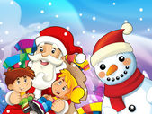 Santa claus with kids — Stock Photo