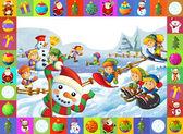 Het kerstmis frame met veel elementen — Stockfoto