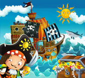 Os piratas e os navios — Foto Stock