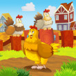 Happy farm chicken — Stock Photo