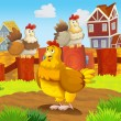 Stock Photo: Happy farm chicken