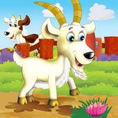 Koza kreskówka szczęśliwy — Zdjęcie stockowe