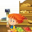 Stock Photo: The shop illustration with different goods and kids