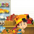 The shop illustration with different goods and kids — Stock Photo #12385048