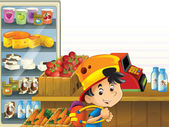The shop illustration with different goods and kids — Stock Photo