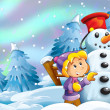 Kids making happy and big snowman — Stock Photo #12399832