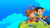 Cartoon kids playing on the chute — Stock Photo