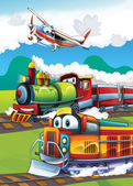 Little happy train illustration — Stock Photo