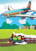 小小的快乐,卡通飞机和火车 — 图库照片