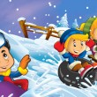 Winter fun kids - Stock Photo