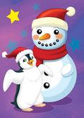 Snögubbe och pingvin — Stockfoto