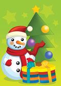 χιονάνθρωπος και snowtree — Φωτογραφία Αρχείου