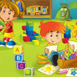 Постер, плакат: The cartoon kindergarten fun and play