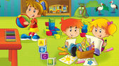 The cartoon kindergarten - fun and play — Stock Photo