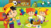 Die cartoon-kindergarten - spaß und spiel — Stockfoto