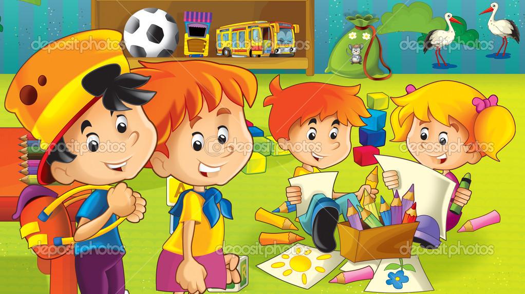 el jardn de infantes de dibujos animados diversin y juegos u foto de stock