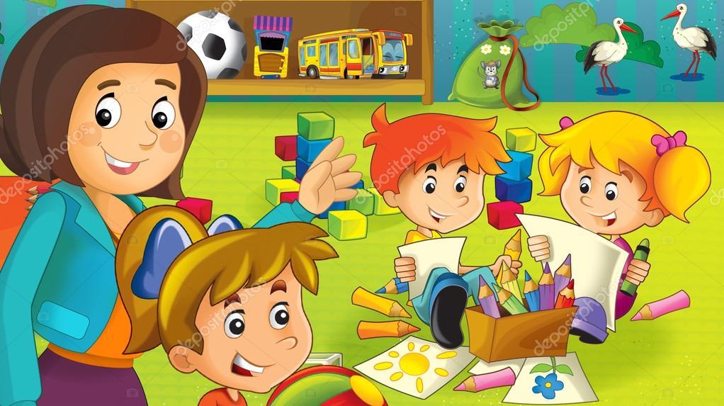 El jard n de infantes de dibujos animados diversi n y juegos foto de stock illustrator hft for Juegos para jardin nios