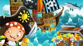The pirates and the ships — Stock Photo