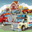 Стоковое фото: Illustration with many vehicles
