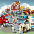 Illustration with many vehicles — Stockfoto #12624957