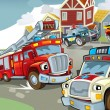 The illustration with many vehicles — 图库照片