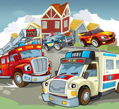The illustration with many vehicles — Stok fotoğraf