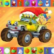 The christmas card - happy illustration for the children - cars - vehicles - Photo