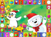The christmas card with clear background - illustration for the children — Стоковое фото