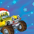 The christmas card - happy illustration for the children - cars - vehicles - Zdjęcie stockowe
