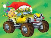 η χριστουγεννιάτικη κάρτα - ευτυχής παράσταση για τα παιδιά - αυτοκίνητα - οχήματα — Φωτογραφία Αρχείου