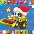 Stock Photo: The christmas card - happy illustration for the children - cars - vehicles