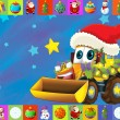 The christmas card - happy illustration for the children - cars - vehicles — Stock Photo